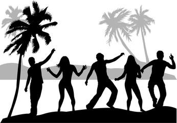 Beach party. Conceptual black silhouettes.