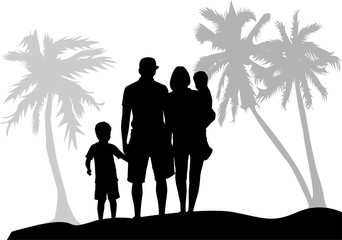 Family under the palm trees.  Vector families with a child.