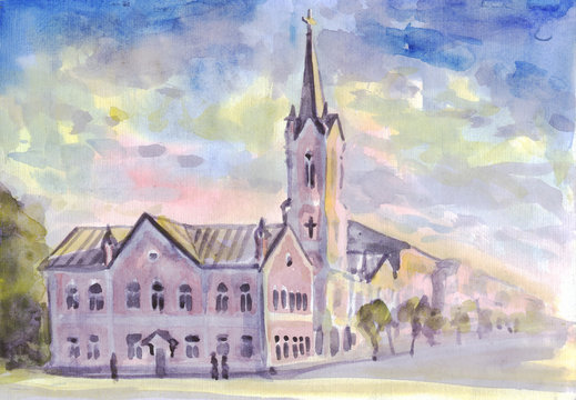 Watercolor painting. City street with Lutheran Church