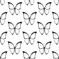 Seamless texture with beautiful black and white butterflies. Butterflies drawn in ink. Great textures for your design.