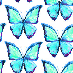 Seamless texture with beautiful blue butterflies. Butterfly painted by watercolors. A great background for your design.