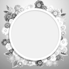 Speech bubble with flowers background. Abstract flora greeting card. Floral round frame with empty space background.