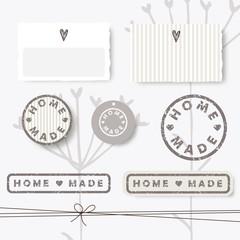 Homemade design elements -stamp, label, sticker