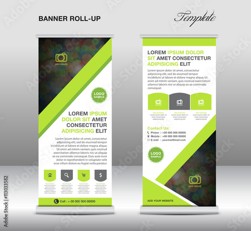 Green Roll up banner stand template stand design polygon backgro ...