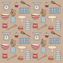 Bakery food cooking icon doodle background