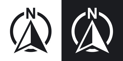 North direction compass icon, vector. Two-tone version on black and white background Wall mural