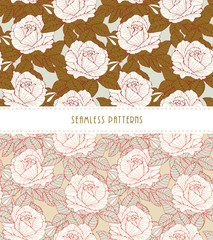 a set of romantic English style floral wallpaper seamless tiles with roses in white, soft blue and olive green