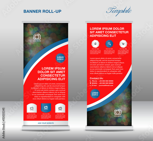 Yellow Roll up banner stand template, stand design,banner templa ...