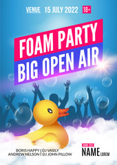Foam Party summer Open Air. Foam party poster or flyer design template with people silhouettes and duckling toy