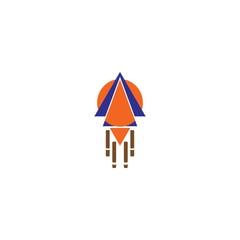 vector rocket in circle logo
