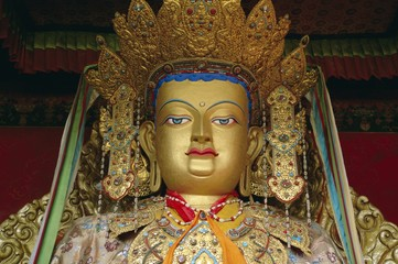 Buddha statue, Xiaozhao temple, Lhasa, Tibet, China, Asia