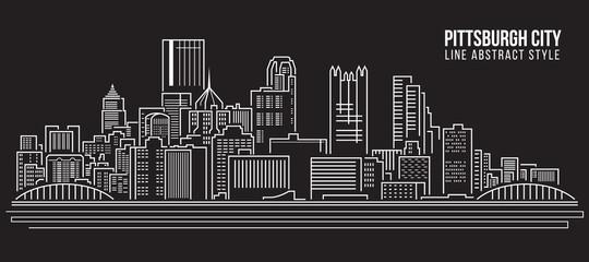 Cityscape Building Line art Vector Illustration design - Pittsburgh City
