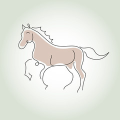 Horse minimal line style vector