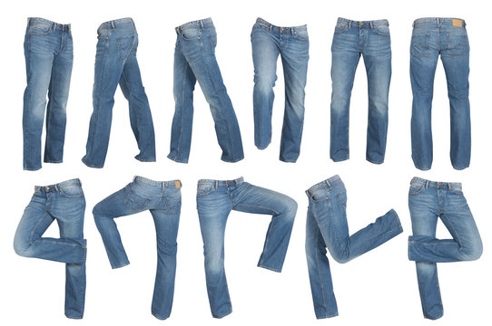 set of blue male jeans isolated on white