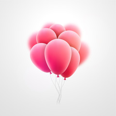 Vector flying realistic pink glossy balloons holiday celebration elements