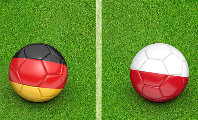 Team balls for Germany vs Poland football tournament match, 3D rendering