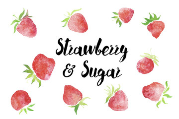 Organic strawberry banner bio food vegan line with free sugar and nature berries, eco illustrations.