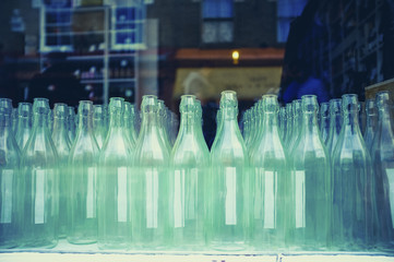 Bottles arranged in factory