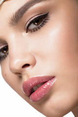 Pretty fresh girl, image of modern Twiggy with unusual eyelashes and accessories. Close up portrait
