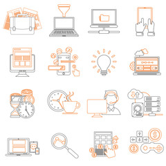 Mono line pictograms vector collection of colorful flat business and finance icons. Design elements for mobile and web applications.