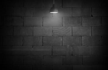 Black room interior design with lamp