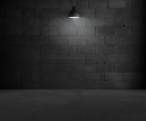 Black brick room interior design with lamp