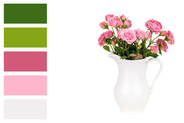 Pink flowers in white jug in a colour palette with complimentary colour swatches.