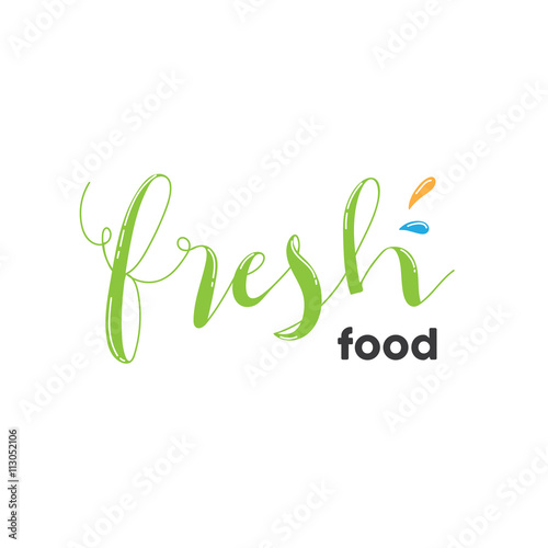 Organic Shop Logo Fresh Food Logo Green Logo Design With Hand Draw