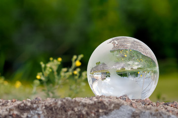 Large glass ball in green grass on a background of flowers. Reflection of the city in a bowl