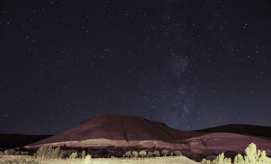 Scenic view of Sahand mountain against sky at night, Kandovan, Iran