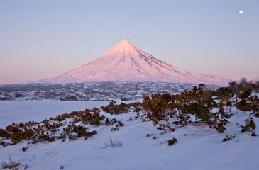 Volcano against the frozen lake
