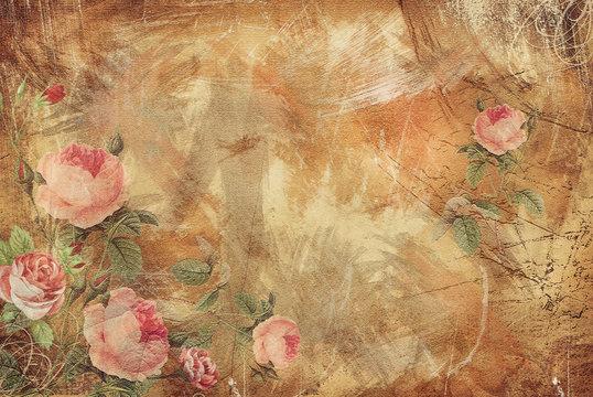 Vintage Background - Floral Old Paper Texture