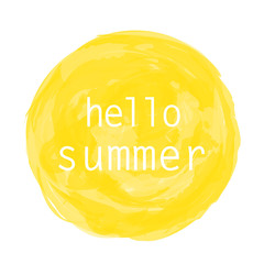 Hello Summer - Yellow Circle - Isolated On White Background - Vector Illustration, Graphic Design
