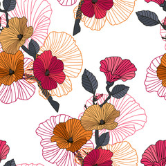 Seamless red, orange and black floral pattern. Color seamless floral pattern on white background. Dark branch with red, orange lavatera flowers, buds and contour. Vector illustration