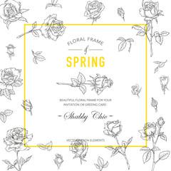 Floral Roses Frame. Invitation Card. Wedding Card. Baby Shower Card