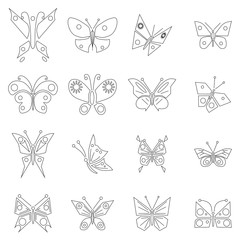 Butterfly icons set, outline style