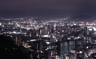 View of illuminated cityscape at night, Hiroshima City, Japan