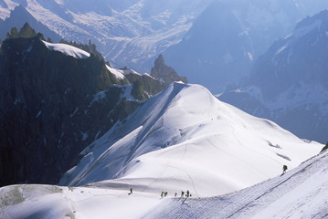 View from Mont Blanc towards Grandes Jorasses, with mountaineers on Cosmiques Ridge, Mont Blanc, French Alps, France, Europe