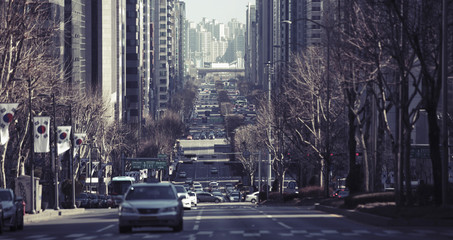 Vehicles moving on city street, Seoul, South Korea