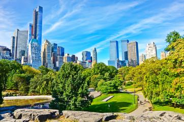 Uitzicht op Central Park op een zonnige dag in New York City.