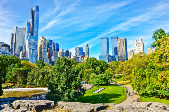 View of Central Park in a sunny day in New York City.