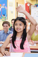 Female Student Raising Hand To Answer Question On Class
