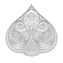 Vector Monochrome Decorative Design Element in Doodle Style