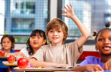 Schoolchild raising hand in classroom. Education concept
