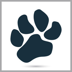 Lion paw print icon on the background