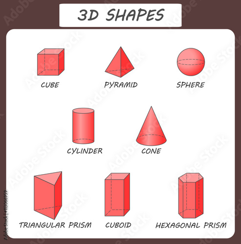Vector 3d Shapes Educational Poster For Children Isolated Solid