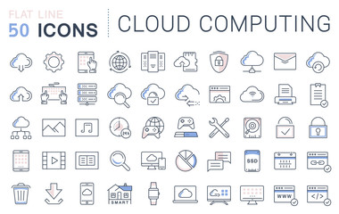 Set Vector Flat Line Icons Cloud Service