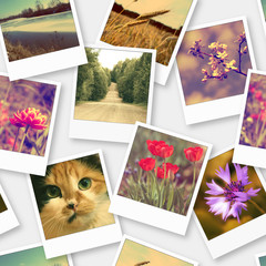 Instant photos. Seamless pattern. Photo collage.