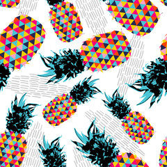Summer seamless pattern with color retro pineapple