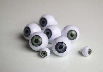 Close-up of artificial eyeballs